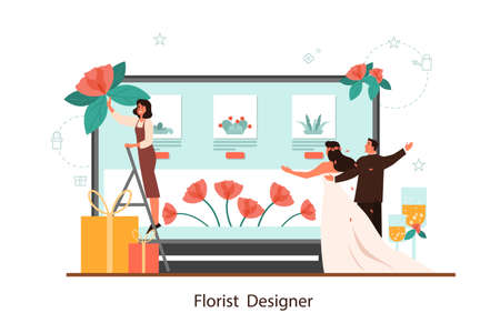 Event florist designer online service. Florists decorating wedding with roses. Creative occupation, floristic business. Isolated vector illustration in flat style Illustration