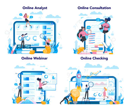 Business analyst online service or platform on differernt device concept set. Business strategy and project management online consultation and webinar. Isolated flat vector illustration