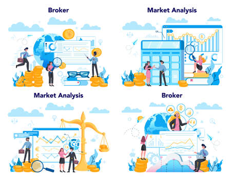 Financial broker set. Income, investment and saving concept. Business