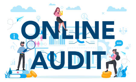Online audit typographic header concept. Business operation research