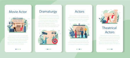 Actor and actress mobile application banner set. Idea of creative