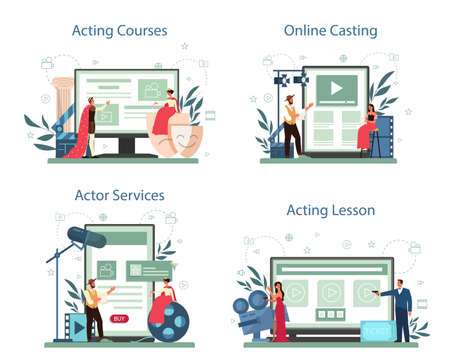 Actor and actress online service or platform set. Idea of creative 向量圖像