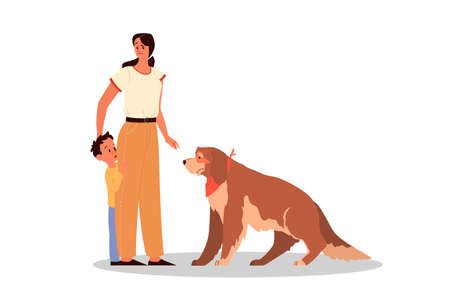 Parenthood and child rearing concept. Woman teach her son to love animals.