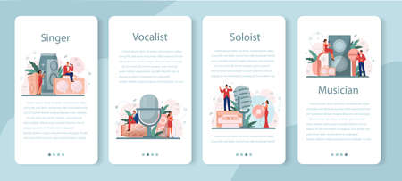 Female and male singer mobile application banner set. Performer singing with microphone. Music show, sound performance. Vector illustration in flat style
