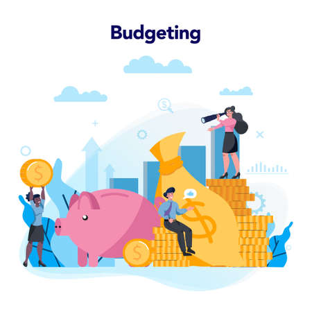 Budgeting concept. Idea of financial planning and investment. Vektorgrafik