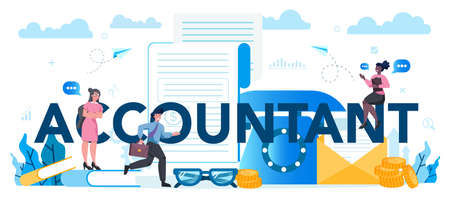 Accountant typographic header concept. Professional bookkeeper. Concept of the tax calculating and financial analysis. Business character making financial operation. Vector illustration Illustration