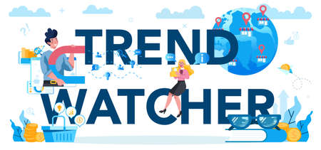 Trendwatcher typographic header concept. Specialist in tracking the emergence of new business trends. Business strategy and project management. Vector illustration in flat style Иллюстрация