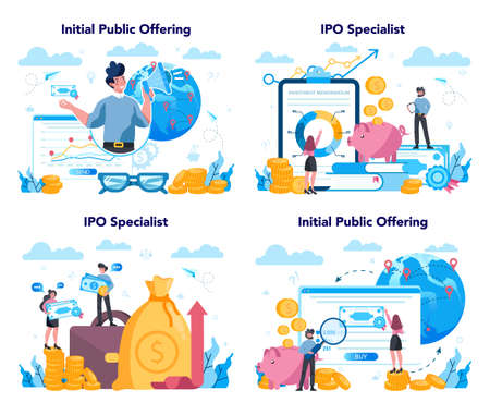 Initial Public Offerings specialist set. IPO consultant. Investing strategy. Idea of money increase and finance growth. Vector illustration in flat style