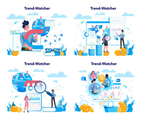 Trendwatcher concept. Specialist in tracking the emergence