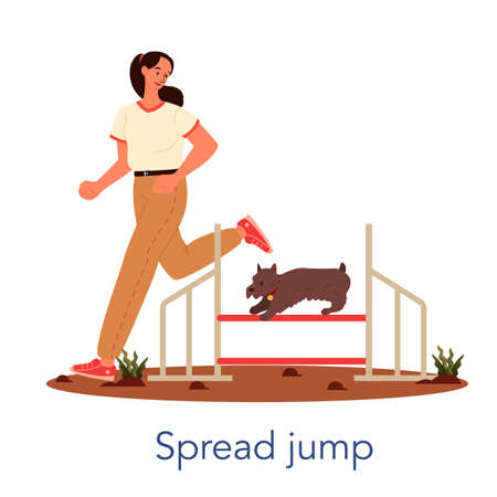 Dog agility spread jump. Training exercise for pet. Woman training