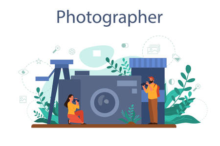 Photographer concept set. Professional photographer with camera