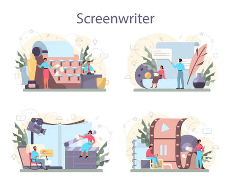 Screenwriter concept set. Person create a screenplay for movie. Author