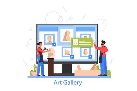 Professional sculptor online gallery. Creating sculpture of the marble, Vektorgrafik