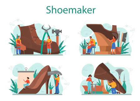 Shoemaker concept set. Male and female character wearing an apron mending shoe. Handmade shoes, retro manufacturing. Isolated vector illustration