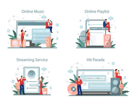 Music streaming service and platform set. Streaming music online 向量圖像