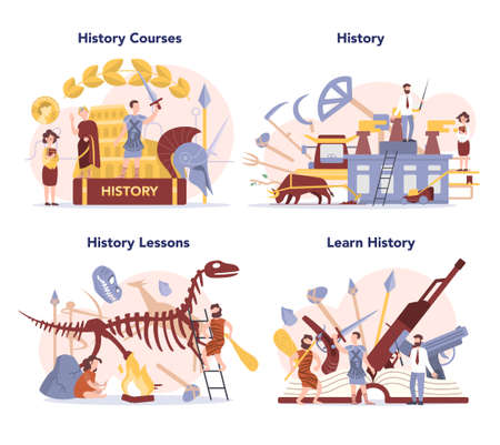 History concept set. History school subject. Idea of science and education.
