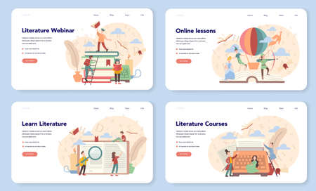 Literature school subject web banner or landing page set.