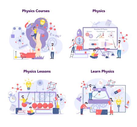 Physics school subject concept set. Scientist explore electricity,