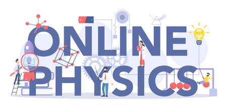 Online physics course and lesson typographic header concept.