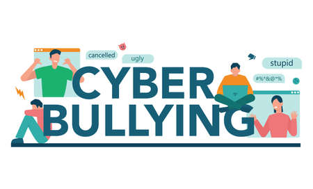 Cyberbullying typographic header concept. Online harassment with unfriendly