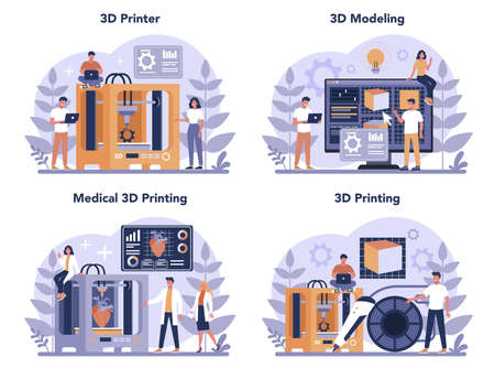 3D Printing technology concept set. 3D printer equipment and engineer.