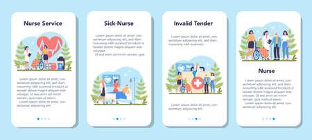 Nurse service mobile application banner set. Medical occupation,
