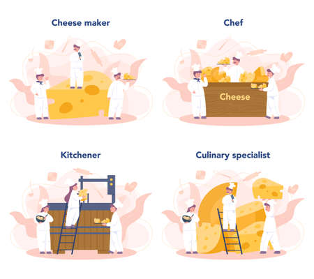 Cheese maker concept set. Professional chef making block of cheese. Cooker in professional uniform, holding a cheese slice. Cheese production. Isolated vector illustration Ilustração