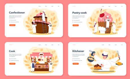 Confectioner web banner or landing page set. Professional confectioner chef. Sweet baker cooking pie for holiday, cupcake, chocolate brownie. Isolated flat vector illustration