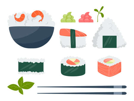 Japanese cuisine, asian food. Rice bowl with shrimp. Onigiri, sushi and rolls. Vegetarian meal, diet cuisine. Isolated vector illustration in cartoon style