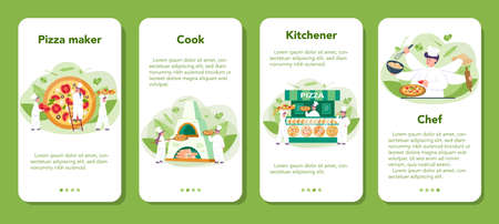 Pizzeria mobile application banner set. Chef cooking tasty delicious pizza. Italian food. Salami and mozarella cheese, tomato slice. Isolated vector illustration in cartoon style