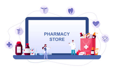Online pharmacy on web device screen. Medicine and healthcare.