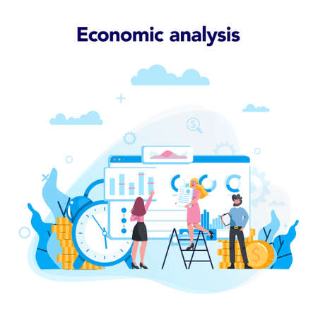Economic analysis concept. Work wih data and financial operations. Audit, optimization and strategy. People working with graph and diagram. Isolated vector flat illustration