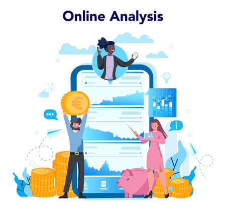 Banking online service or platform. Online bank analysis. Idea of finance income, money saving and wealth. Vector illustration in flat style