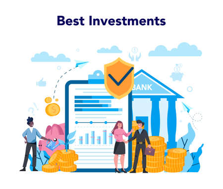 Banker or banking concept. Investing money and financial transactions on behalf of individuals, corporations, and governments. Isolated flat vector illustration