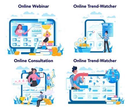 Trendwatcher online service or platform set. Webinar, consultation