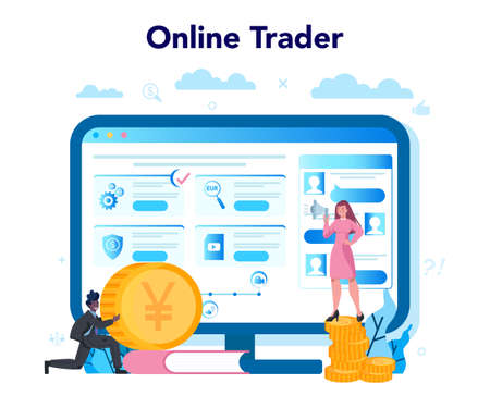 Trader, financial investment online service or platform. Buy or sell