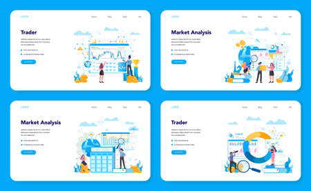 Trader, financial investment web banner or landing page set. Buy, sell
