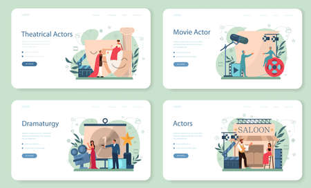 Actor and actress concept set. Idea of creative people and profession.