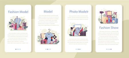 Fashion model mobile application banner set. Man and woman