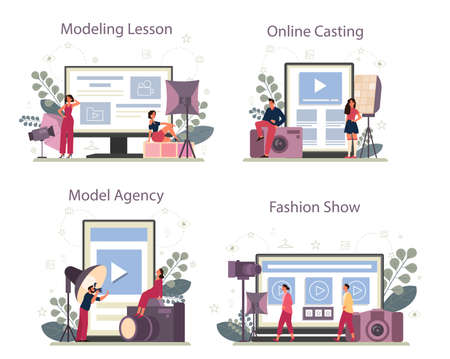 Fashion model online service or platform set. Man and woman