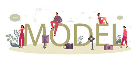 Fashion model typographic header concept. Man and woman