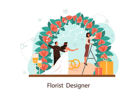Florists decorating wedding arch with roses. Event florist designer.