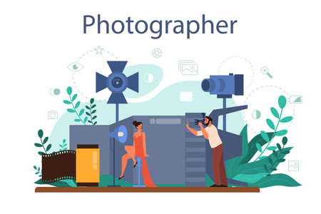Photographer concept. Professional photographer with camera taking picture