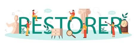 Restorer typographic header concept. Artist restores an ancient statue Banco de Imagens - 146622837