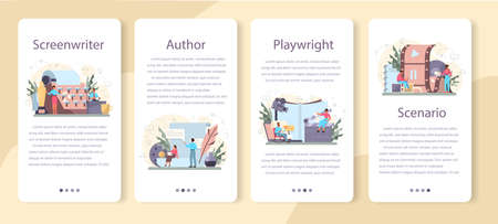 Screenwriter mobile application banner set. Person create a screenplay