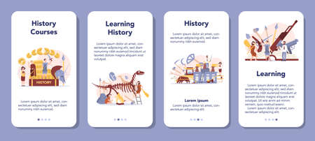 History concept mobile application banner set. History school subject.