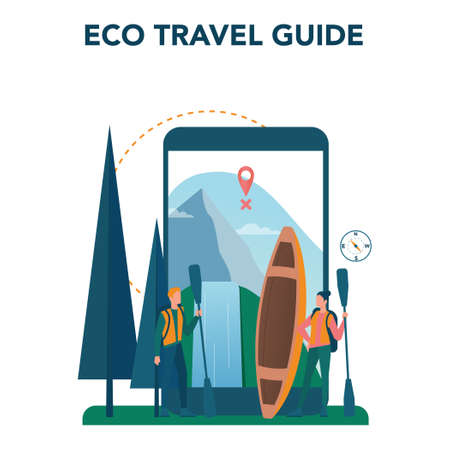 Eco tourism and eco traveling online service or platform. Eco friendly