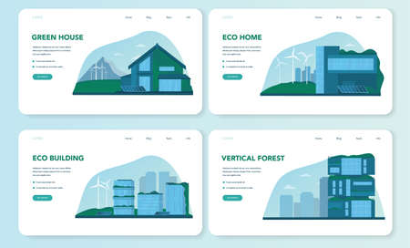 Ecology web banner or landing page set. Eco-friendly house building Иллюстрация