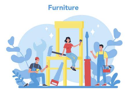 Wooden furniture concept. Furniture store word concept banner. Illustration