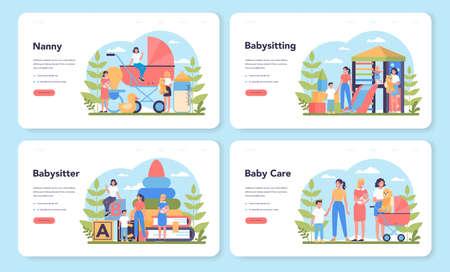 Babysitter service or nanny agency web banner or landing page set. Ilustración de vector